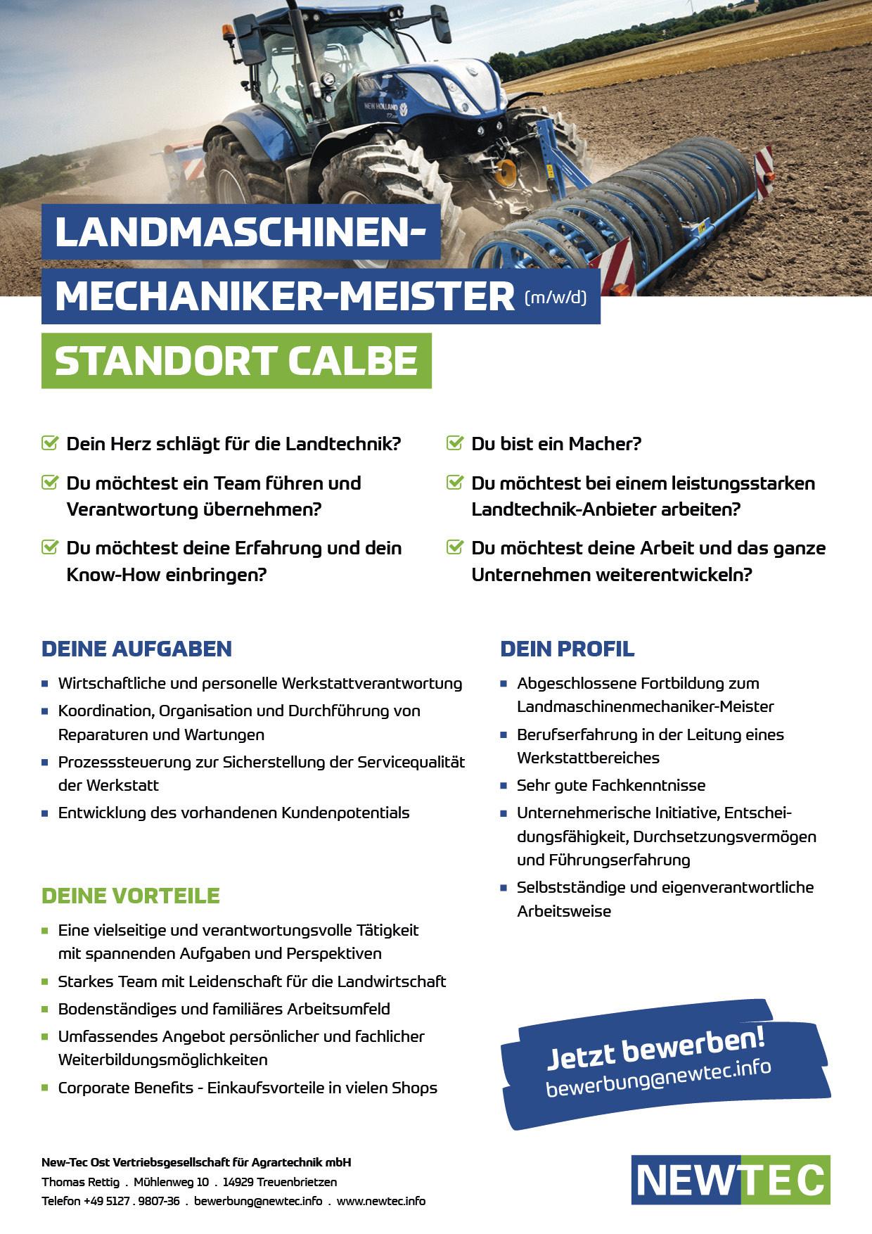 NEWTEC_Stellenanzeige_Landmaschinenmechaniker-Meister_Calbe