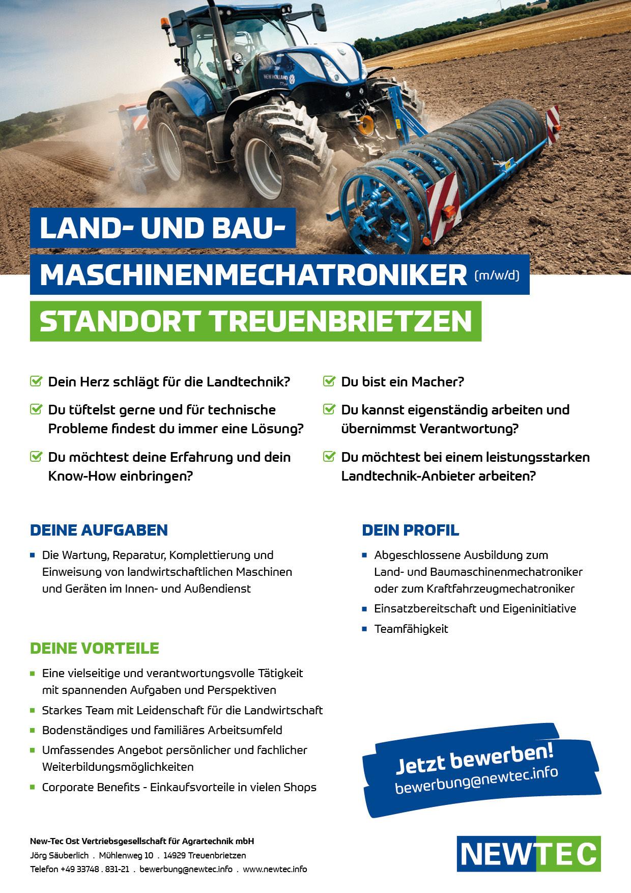 NEWTEC_Stellenanzeige_Land-_und_Baumaschinenmechatroniker_Treuenbrietzen