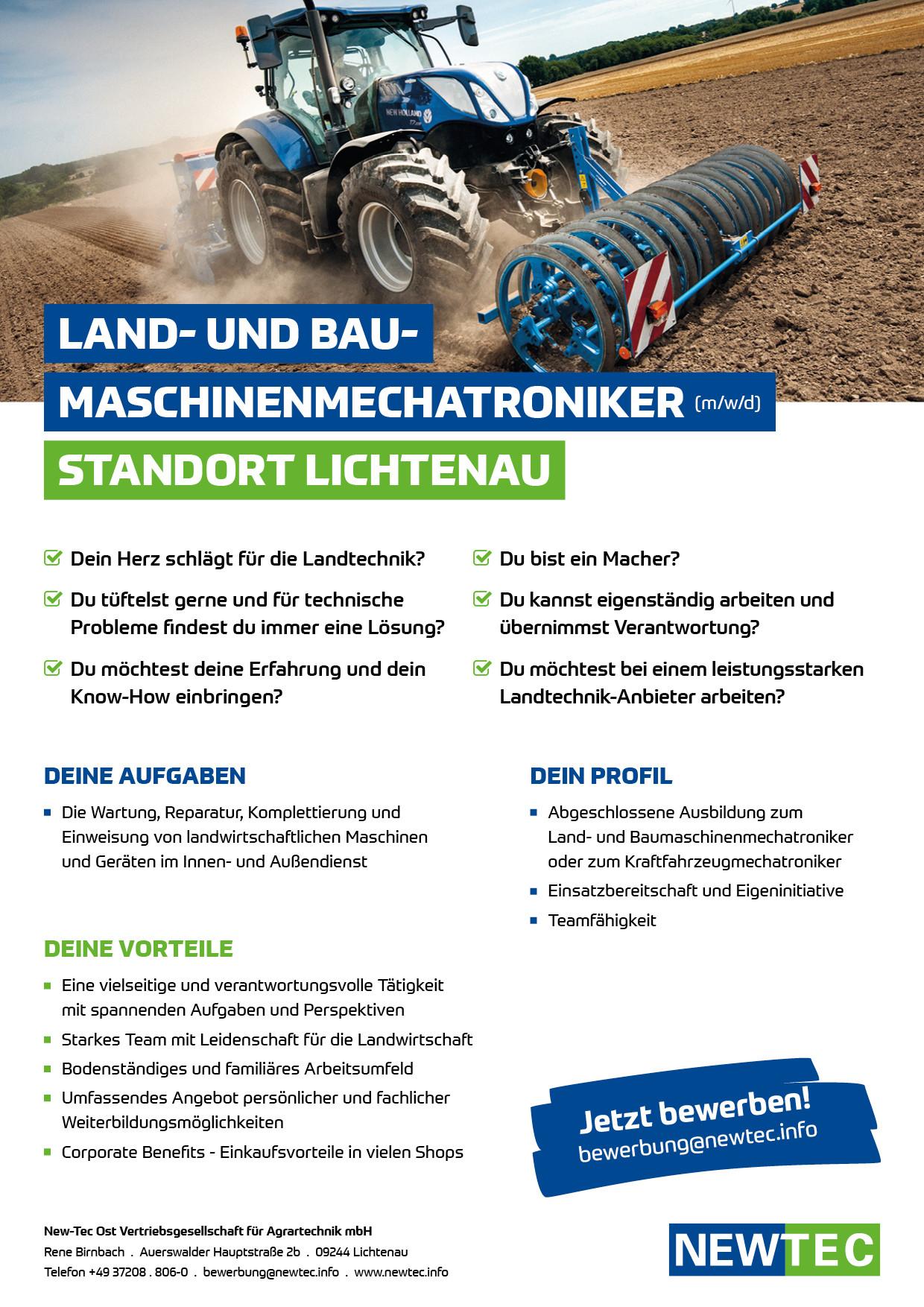 NEWTEC_Stellenanzeige_Land-_und_Baumaschinenmechatroniker_Lichtenau