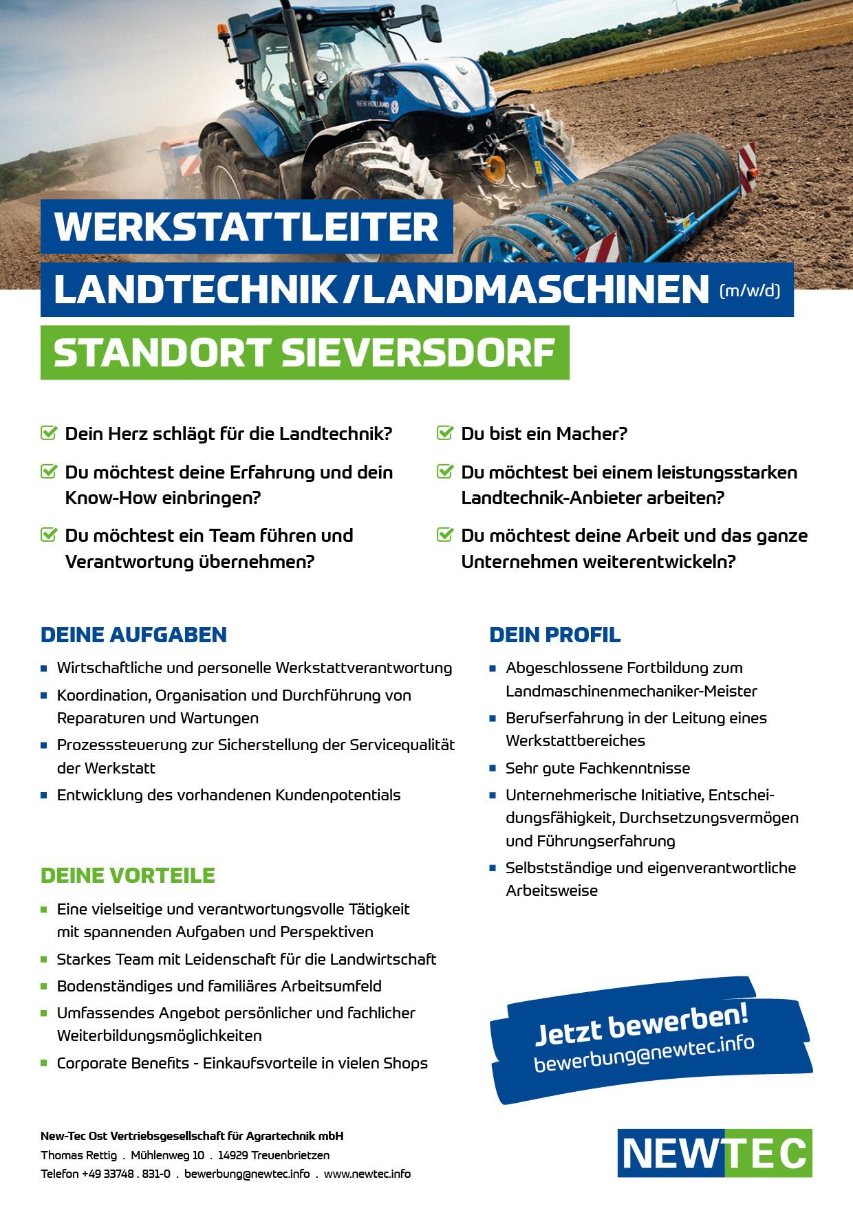 NEWTEC_Stellenanzeige_Werkstattleiter_Landtechnik_Landmaschinen_Sieversdorf